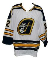 Any Name Number Size Flint Generals Custom Hockey Jersey White McCarty