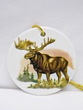 Moose Standing 3in Round Porcelain Christmas Tree Ornament Fired Decal