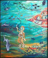 Jules Vernes 20.000 miles under the sea Taucher 80 x 70 cm Felix S. Pfefferkorn
