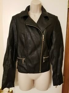 A.n.a. Black Faux Leather Asymmetrical Motorcycle Jacket, Size M