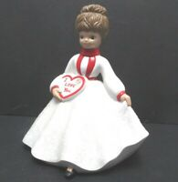 Vintage Valentines Day Ceramic Girl in Glitter Dress with I Love You Candy Box