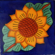 "Handmade Mexican Tile Sample Talavera Clay 4"" x 4"" Tile C045"