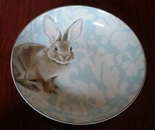 NEW WILLIAMS SONOMA  DAMASK EASTER BUNNY RABBIT LARGE SERVING BOWL 12.75 inches