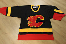 Vintage 90s Calgary Flames CCM Maska Air knit NHL Hockey Jersey Black Alternate