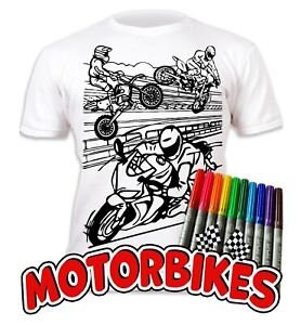 Splat Planet Colour-in Motorbikes T-Shirt 10 Magic Pens-Colour-in and Wash Out
