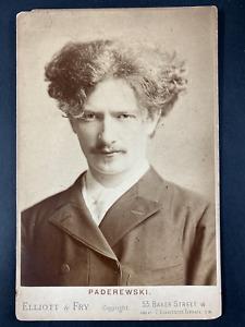Elliott & Fry, London, Jan Paderewski, pianiste et homme politique Vintage print