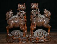 Vieux Chine Buis Sculpté Feng Shui Dragon Qilin Kylin Bête Chanceux Statue Paire