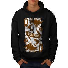 Wellcoda Queen Of Spades Mens Hoodie, Gambler Casual Hooded Sweatshirt