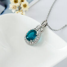 Women 18K White Gold Plated Fashion Crystal Drop Pendant Necklace Antique Style