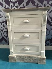 New England Antique White Shabby Chic Three Drawer Bedside Table