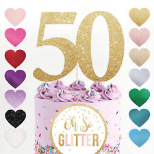 50 cake topper number any age birthday glitter rose gold Fifty 40 60 70 80 50th