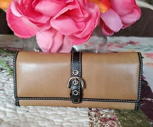 RARE COACH Brown Leather Eyeglass Soft Case Holder MINT
