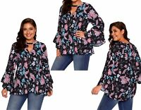 Woman's Ladies Floral Paisley Wedding Party Bell Sleeve Top Plus Size 16 18 20