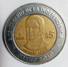 MEXICAN COIN $5PESOS NICOLAS BRAVO BICENTENARIO DE LA INDEPENDENCIA 2010