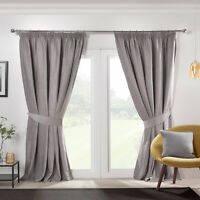 Silver Grey Curtains Blackout Chenille Soft Tape Top Pencil Pleat Curtains Pair