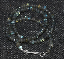 """925 Sterling Silver 19"""" Strand Necklace Blue Labradorite 5-6 mm Round Beads"""