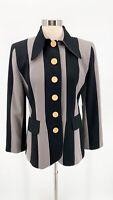 Vtg MOSCHERY Womens Black Gray Striped Wool Gold Crest Button Blazer Sz 8