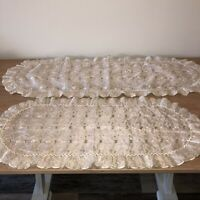 Set of 2 Vintage Embroidered Ruffled Table Runners Green Cream Chiffon Cottage