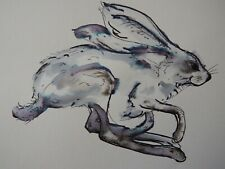 Original hand drawn signed small pen & ink wash drawing sketch of a hare running
