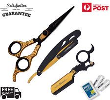 BARBER RAZOR SHAVING BEARD BUNDLE SALON HAIRDRESSING SCISSORS +10 BLADE