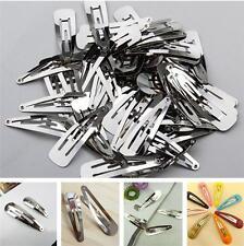 50Pc 40/50mm Silver Barrette Snap Hair Bows Clips Barrette Bulk Metal Craft Diy