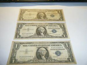 1957A and B Silver Certificate 1$ Blue Seal Dollar Bill Note - Lot Of 3