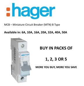 HAGER MCB MTN 6,10,16,20,32,40,50 AMP B TYPE 6KA Single Pole