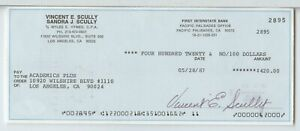 Vincent Scully Signed check dated 5/28/87 JSA Authenticated