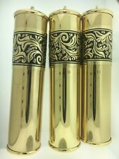 Grandfather Clock Brass Weight Shell Set of 3 with Fancy Embossed Band