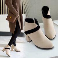 Elegant Womens Colorblock Ankle Boots Round Toe Block High Heel Suede Booties