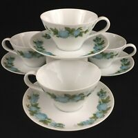 4 VTG Cups and Saucers Noritake Blue Orchard Cookin Serve Fruit 6695 Japan