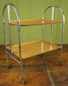 60er Dinett Serving Trolley Tea Trolley Table Oak Side Table BAR Chrome 70er 2