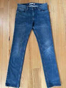 Mens Calvin Klein Jeans Slim Straight Size W31 L34 Blue Denim Free Postage