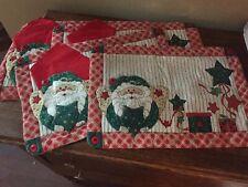 Vtg Lot of 4 Santa Claus Place Mats Pocket For Napkin & Flatware Handmade