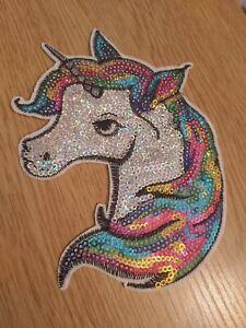 Unicorn patch applique motif 144x112mm iron on craft F7 sequin