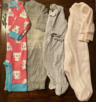Bundle Lot Of 4 Infant Baby Girl One Piece Sleeper Bodysuits - Footed & Footless