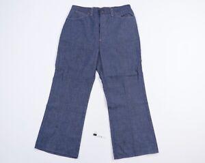 Vintage 70s Mens 34x28 Distressed Wide Flared Leg Raw Denim Jeans USA Talon 42