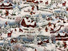 Hoffman Winter Wonderland Snow Scenic Christmas Fabric Blue Brown w/ Silver BTHY