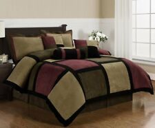 7 Pc Patchwork Comforter Set Micro Suede Queen 3 Cushions Sham Bed Skirt Bedding