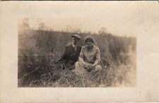 RPPC Postcard Man and Man Sitting and Smoking in a Field c. 1900s
