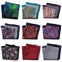 1 Pc Men's Designer Pocket Square Fashion Handkerchief Dot Paisley Floral Plaid