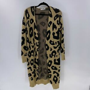 Angashion animal print open front sweater cardigan sz XL pockets