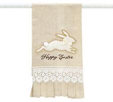 "Bunny Rabbit Tea Towel Happy Easter Brown Natural Linen Lace Ruffles 24"" Cute"