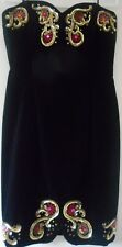 ESCADA Couture Dress Size 10 40 Black Velvet Embroidered Sequin Jewels Gold
