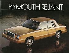 1984 Plymouth RELIANT K Car Brochure:SE,CUSTOM,WAGON,