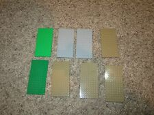 Lego Base Plates 8x16 Lot of 8 Green Tan Gray