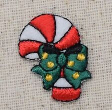Iron On Embroidered Applique Patch Christmas Candy Cane Green Bow Yellow Dots