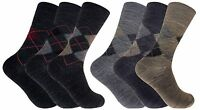 3 Pack Mens Thin Warm Wide Non Binding Argyle Lambs Wool Blend Hiking Crew Socks