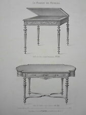 Table de jeu et salon GRAVURE le MAGASIN de MEUBLES Victor QUETIN XIXéme