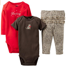 Carter's Baby Girls' 3 Piece Set Baby Darling Red Cheetah Cat 12 Months